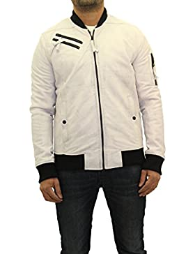 De cuero blanco para hombre 70s Casual estilo del bŽisbol del equipo universitario de la chaqueta de bombardero...