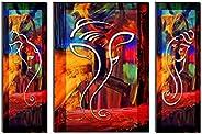 SAF Set of 3 Ganesha UV Coated 6MM MDF Home Decorative Gift Item Painting 24 inch X 18 inch