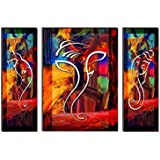 SAF UV Textured Ganesha Print Painting Set of 3 for Home Decoration (Synthetic, 24 inch x 18 inch, Set of 3)