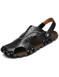 Onfly Hombres Chicos Dedo del pie cerrado Cuero Casual Sandalias Zapatillas Antideslizante Respirable Para caminar Al aire libre Sandalias Zapatos de agua Zapatillas de deporte ocasionales Playa Zapatos San , black , 40