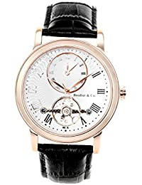 Boudier & Cie B15H4- Reloj analógico de pulsera para hombre (automático), correa de cuero negra