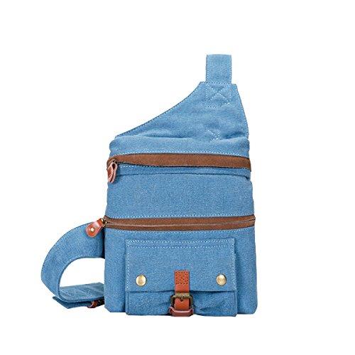 Yy.f Lässig Brust Tasche Männer Outdoor-Sport-Segeltuchtasche Eine Kleine Tasche Multifunktionsbeutel Fester Beutel Multicolor Blue