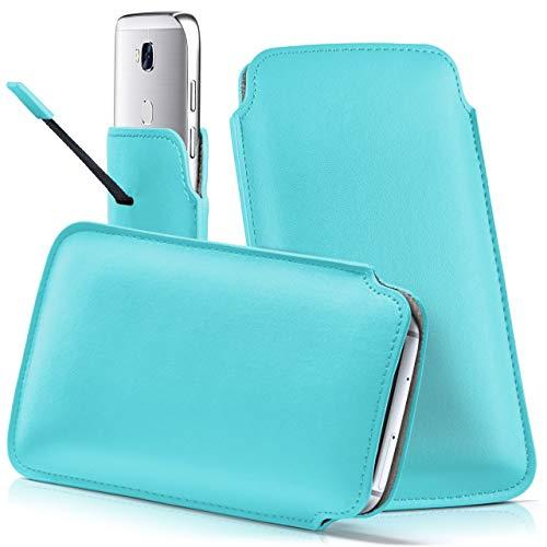 moex Wiko View XL | Hülle Türkis Sleeve Slide Cover Ultra-Slim Schutzhülle Dünn Handyhülle für Wiko View XL Case Full Body Handytasche Kunst-Leder Tasche