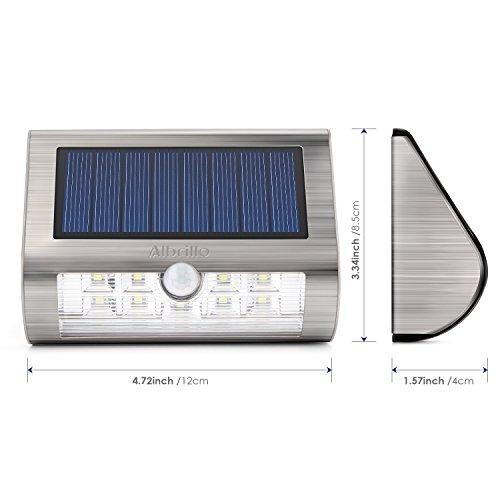 Albrillo Solarleuchten mit Bewegungsmelder, 2er-Pack, 18 LEDs in Kaltweiß - 2