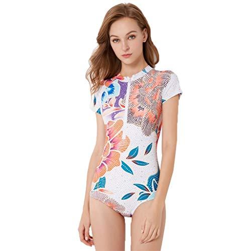 LOPILY Damen Strandmode Einteiler Bademode Surfbekleidung Sommer Modisch Blumendruck Badeanzüge Taucheranzug Schnorcheln Schnelltrocknend Wassersport Anzug(Weiß,XL)