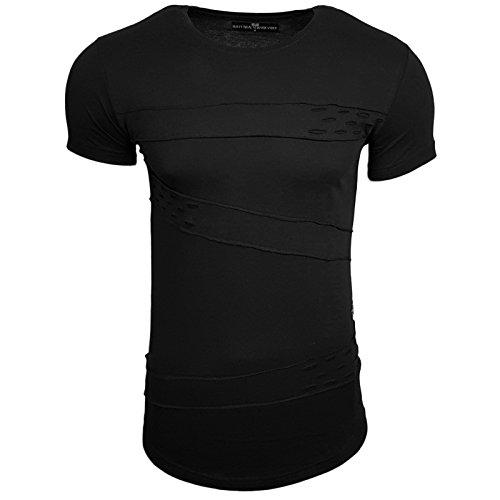 HERREN T-Shirts Druck Größe S M L M XL XXL kurzarm Text RN15114 Schwarz