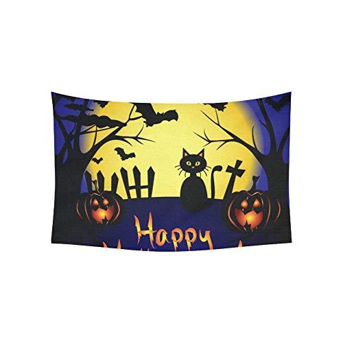 JOCHUAN Tapisserie Happy Halloween Karte Vollmond Fledermäuse Wandteppiche Wandbehang Blume psychedelischen Wandteppich Wandbehang indischen Wohnheim Dekor für Wohnzimmer Schlafzimmer 60 X 40 Zoll