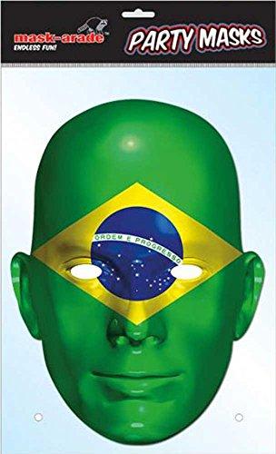 Jungen Kostüm Brasilien Für - empireposter Brasilien Flagge - Fan Maske, Pappmaske, aus hochwertigem Glanzkarton mit Augenlöchern, Gummiband - Grösse ca. 30x21 cm