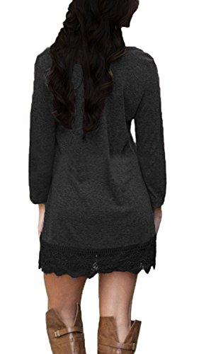 ASCHOEN Damen Langärmelig A-Linie Geschnitten Spitzen Nähen Freizeit Kleidung Dress Abbildung 3