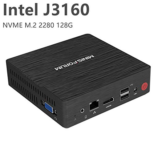 Desktop Mini PC Intel Celeron J3160 Quad-Core-Prozessor (bis zu 2,24 GHz), 4 G DDR3 / NVME 128 GB SSD Windows 10 Pro 4K HDMI & VGA Display mit leisem Kühlungssystem USB 3.0 / BT 4.2 -