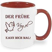 Bedruckter Kaffeebecher + Der frühe Vogel kann mich mal+ Tasse super Weihnachtsgeschenk, Geburtstag Tasse,Kaffee Tasse mit Spruch