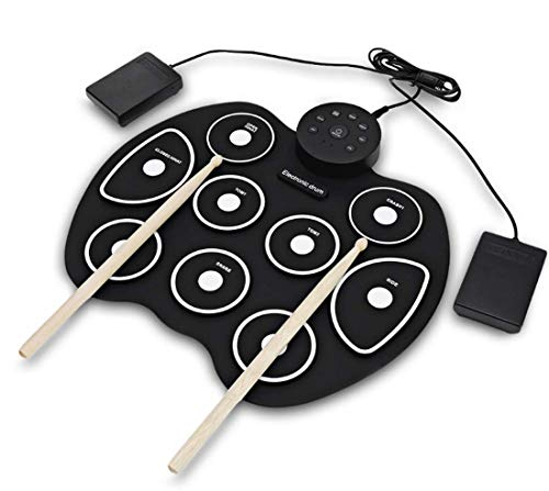 Batería Electrónica Drum Kit Silicona USB Educación Musical Temprana Plegable Drum Pad...