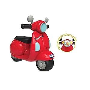 Chicco – Correpasillos Vespa con Forma de Moto Scooter y Volante electrónico, Color Rojo