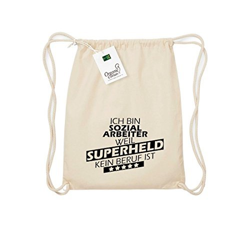 Shirtstown Organico Gymsac Sono Assistente sociale, perché Super eroe niente Occupazione è - rosso, One Size naturale