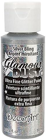 Deco Peinture - DecoArt Glamour Dust Peinture à paillettes, argent,