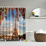 Alcoa Prime 180 x 180cm Eiffel Tower Waterproof Fabric Bathroom Shower Curtain Decor