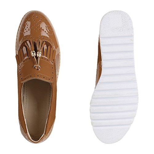 Damen Slipper Fransen Lack Schuhe Profilsohle Flats Hellbraun