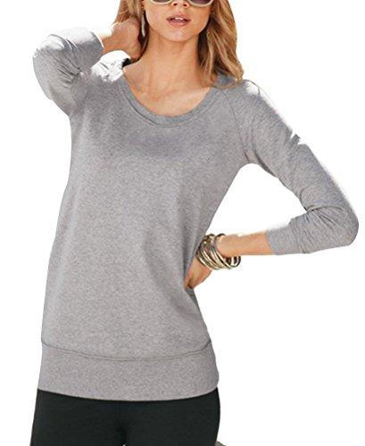 Brinny femme Chemise T-shirt à manches longues couleur unie vêtement lâche Gris