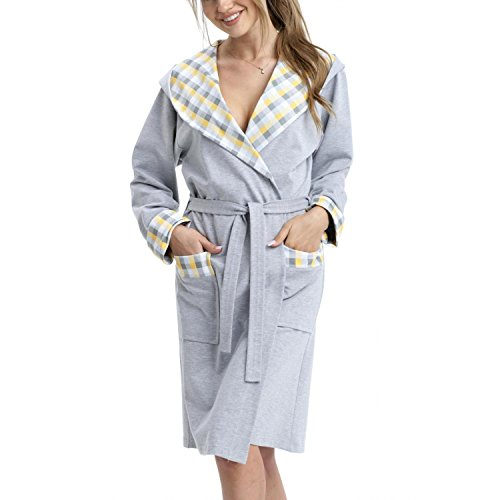 Aquarti Damen Bademantel mit Kapuze Kurz Baumwolle, Farbe: Grau/Karomuster Grau Gelb, Größe: S