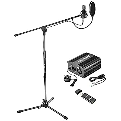 Neewer NW-700 Pro Condenser Microphone Kit: Condenser Mic, Mic Floor Stand, 48V Phantom Power Supply, Shock Mount, Filter Mask Shield,USB Sound Card for Voice Recording Home Studio Broadcasting(Black)