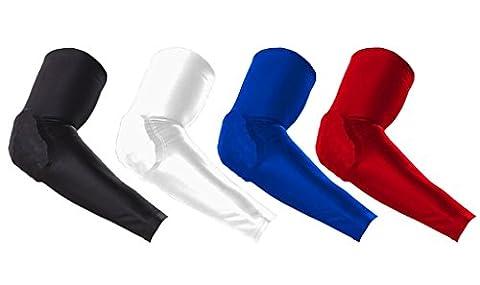 Kungken Schutz-Kompressions-Antirutsch-Langarm-Armstrumpf mit bruchsicherem Pad mit Wabenstruktur–2Stück Medium (Spandex Elbow)