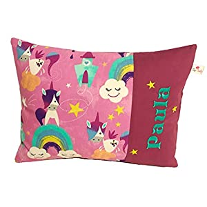 """TryPinky® Handmade Kissenbezug 30 X 40 cm"""" Einhorn Regenbogen"""" mit Name Namensstick Punkte Pink Weiß Kinderkissen Namenskissen Mädchen Babykissen Taufe Kissenhülle"""