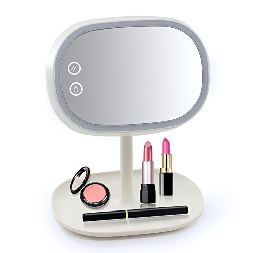Xcellent Global Schminkspiegel & LED Tischlampe Leselampe Aufladbar Dimmbar Touch Screen Licht BT015 (Oval Elfenbein Spiegel)