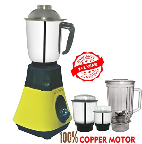 LONGWAY® Super DLX 750 WATT 4 JAR Mixer Grinder Powerful Copper Motor with 1+1 Year Warranty