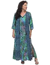 LOTUSTRADERS Damen Maxi Batik Kleid