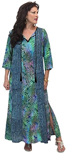 LOTUSTRADERS Damen Maxi Batik Kleid Schwarz-Blau-Navy