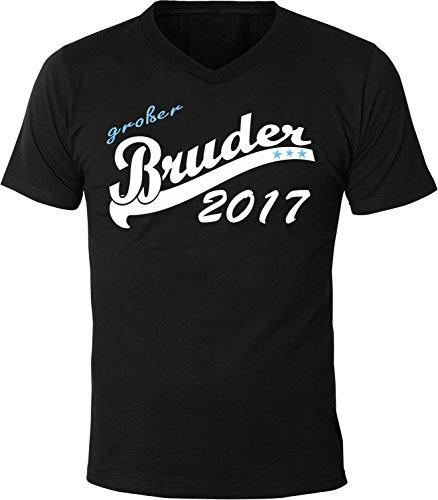 Mister Merchandise Herren Men V-Ausschnitt T-Shirt Großer Bruder 2017 Tee Shirt Neck bedruckt Schwarz