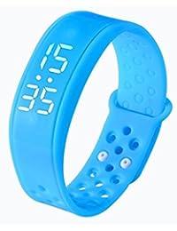 Pulsera deportiva inteligente Fulltime(TM) W6 con podómetro, mujer hombre Infantil, azul