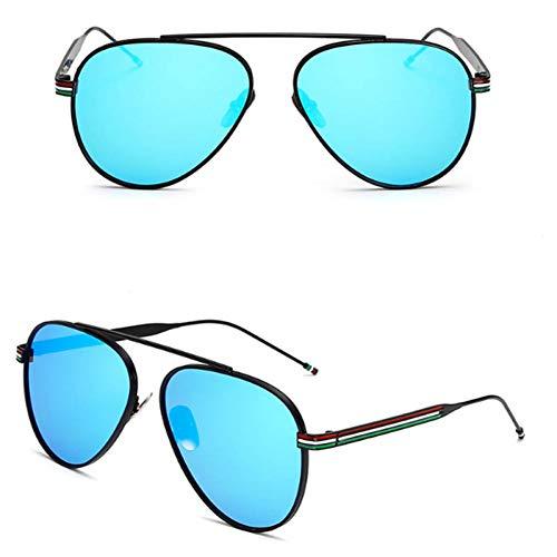 sijiaqi Oval Mirror Shades Kröte Objektiv Oculos De Sol Frauen Brillen Fahren Brille Männer Sonnenbrille Metallrahmen,C3 Black Blue