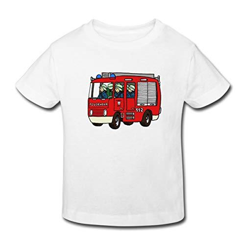 Spreadshirt Feuerwehrauto Kinder Bio-T-Shirt, 98/104 (3-4 Jahre), Weiß -