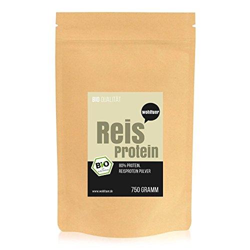 Wohltuer Bio Reisprotein | Glutenfrei, Cholesterinfrei, Nährstoffreich | Low Carb Food | Vegetarisch und Vegan | vielseitiges Lebensmittel in geprüfter Bio-Qualität (750g)