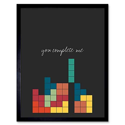 e Quote You Complete Me Video Game Nerd Tetris Art Print Framed Poster Wall Decor Kunstdruck Poster Wand-Dekor-12X16 Zoll ()
