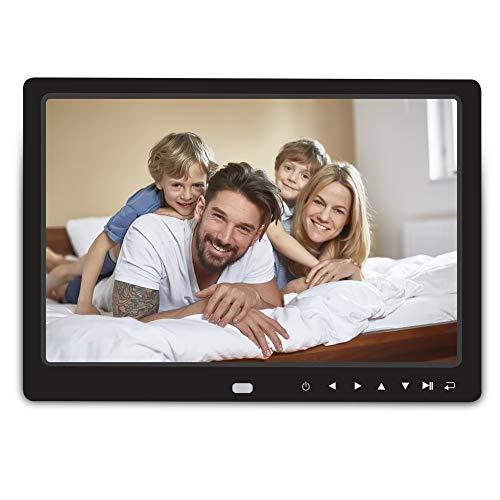 Digitaler Bilderrahmen, RegeMoudal 12 Zoll 1280x800 HD ultra slim Breitbild mit Fernbedienung, Unterstützt 32G SD und USB und Multi-Format, Verschiedene Anzeigemodi, für Video Musik FotoBilder und Videos Schwarz