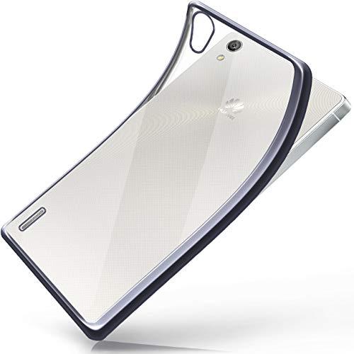 moex Huawei P7 | Hülle Silikon Transparent Anthrazit Chrom Back-Cover Silikonhülle Dünn Schutzhülle Handyhülle für Huawei Ascend P7 Case Ultra-Slim Tasche TPU