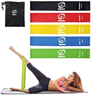 VIMILOLO Resistance Loop Exercise Bands with Instruction Guide, Home Fitness, Natural Latex Workout Bands for
