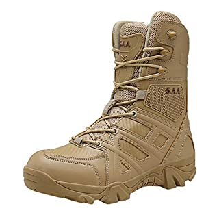 LSAltd Männer Volltonfarbe Anti-Rutsch-Schnürschuhe Desert Boots Komfortable Outdoor-Taktische rutschfeste Stiefel