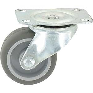 Guitel point M - Roulette Mini roll à platine pivotante / Roue Plastex gris - 54 x 42 - 15