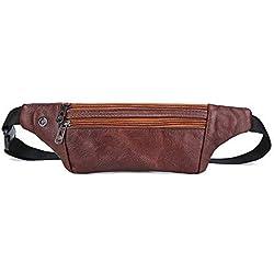 Dboar Riñonera Hombre Bolsa Cintura de Piel Vintage Bolsos para Teléfonos hasta 6 Pulgadas, Bolso Cinturón para Viajar, Hípica, Golf, Acampada (Marrón)