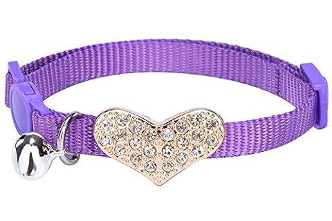 Breakaway Cat Collar Adjustable Kitten Collars with Bell, Purple PUPTECK