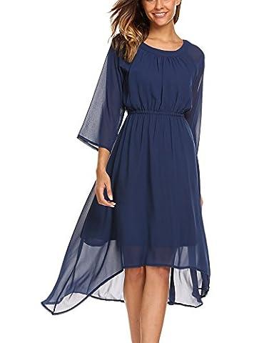 Parabler Damen Chiffon Kleid Sommerkleid Elegant Partykleid Hochzeit Festliches Kleid A Linie Kurzarm Knielang Blau L