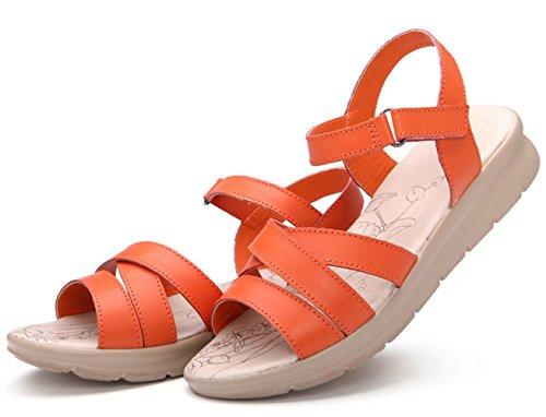 Moderne Sommer Damen Kreuzband Groß Bunte Bonbonfarbe Elegante Schöne Weiche Sohle Gummi Anti Rutsch Strandschuhe Sandalen Orange