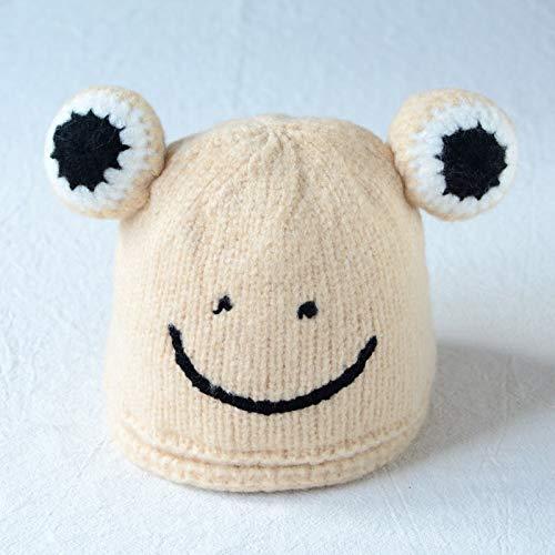 mlpnko Baby Mütze Smiley Big Eye Wollmütze Männer und Frauen Baby Beige Fliese 18CM empfohlen 2 Monate bis 8 Monate (Big Baby Kostüm Frauen)