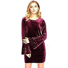 Aashish Garments Maroon Round Neck Bell Sleeves Pearl Mini Velvet Women's Dress