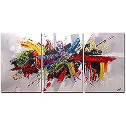 La Vie Tríptico Cuadro Abstracto Impreso Sobre Lienzo Estirado en Marco de Madera 40x60cmx3 Pintura al óleo Pintura Decorativa por Decoración del Hogar Salon Oficina Club Hotel Regalo