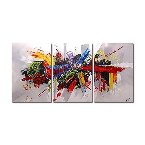 La Vie Tríptico Cuadro Abstracto Impreso Sobre Lienzo