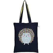 "EcoRight Zipper Tote Reusable 100% Cotton Canvas EcoFriendly Printed""Hug me Porcupine"""